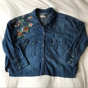 Zara Woman Denim top with embroidery